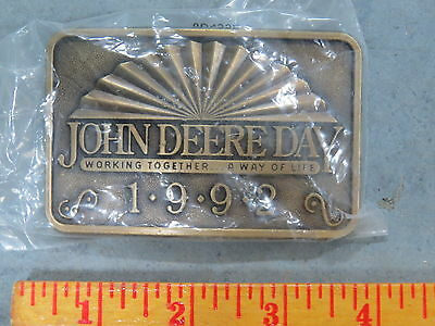 Vintage John Deere Day BELT BUCKLE New Old Stock NOS 1992