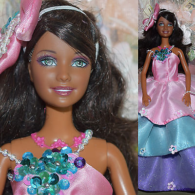 """Mattel Barbie 11.5"""" AA PRINCESS DOLL Light Up Necklace African American Fairy"""