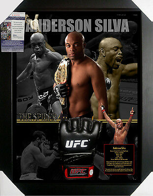 Anderson Silva Ufc Signed Framed Glove James Spence Jsa Authenticated #l83372