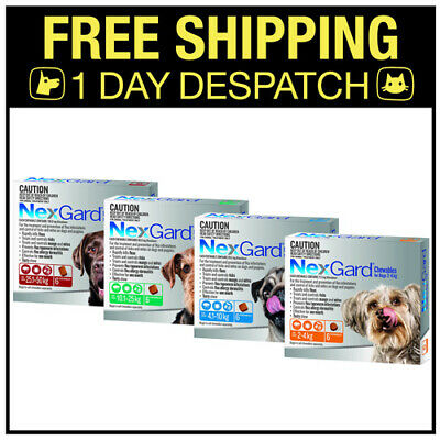 NexGard For Dogs Flea and Tick treatment 3 chews All sizes