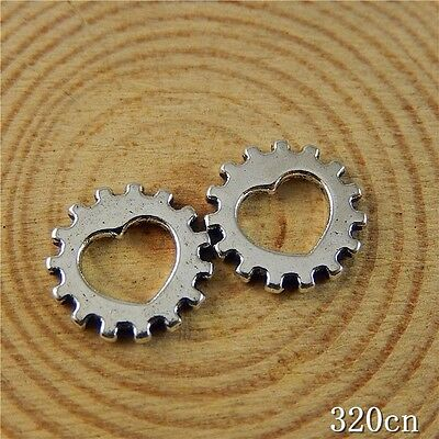 100pcs Vintage Silver Alloy Heart Gear Wheel Pendants Charms Jewelry Craft 50764