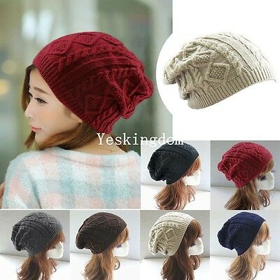 Men Womens Ladies Baggy Chunky Knit Knitted Crochet Beanie Slouch Hat Ski Cap