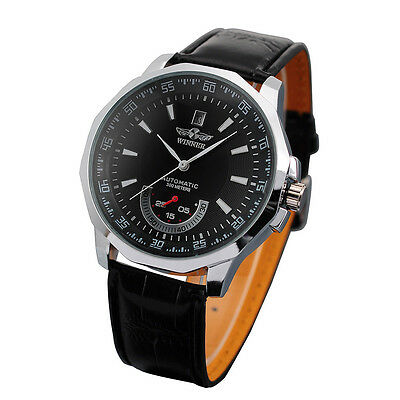Men's Automatic Mechanical Date Black Leather Band Analog Wrist Watches Gift