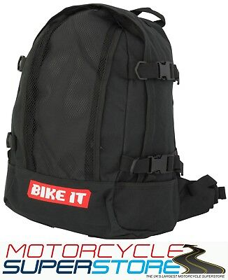 Bike It Black Motorcycle Motorbike Supermoto Scooter Rucksack Back Pack Luggage