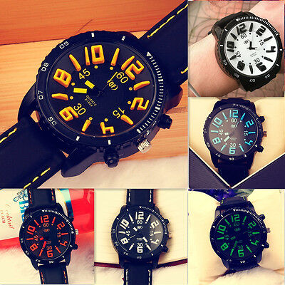 Ladies Mens Boy Jumbo Big Face Silicone Sport Alanog Quartz Wrist Watch Watches