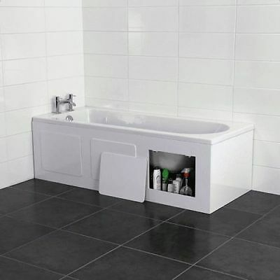 Croydex Gloss White Storage Front Bath Panel - Removable Panels for Items 1680mm