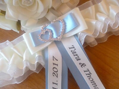Personalised Wedding Garter/hen Garter White/ivory + Choice Of Colours