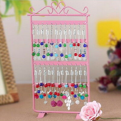 48 Hole Earrings Ear Studs Jewelry Display Rack Metal Stand Holder Showcase ID