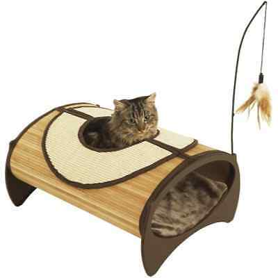 Bamboo Cat Cave Bed, Scratching Pad & Cushion | Cosy Kitten Tunnel Bedding Igloo