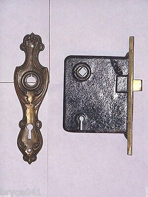 Antique Art Nouveau Era Mortise Lock and Backplate