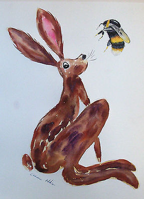 "Fridge Magnet, Hare looking at a Bumble Bee large  4.25"" by 5.5"""