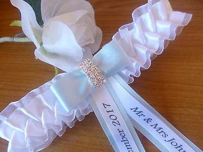 Bn Personalised Wedding/hen Garter Ivory Or White + Choice Of Cordinating Cols