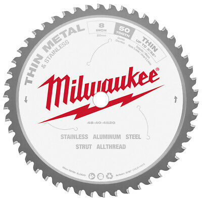"Milwaukee 48-40-4520 8"" x 50 Tooth Cermet Tipped Thin Metal Cutting Circular Saw"