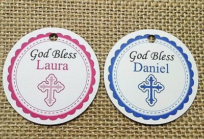 15x Personalised Christening Tags First Communion Baptism Thank You Labels