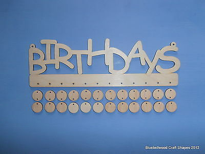 PLAIN BLANK WOODEN UNPAINTED BIRTHDAY REMINDER SIGN WITH MINI SHAPES 30 x 10