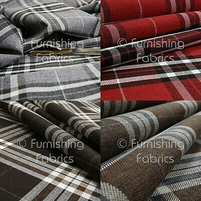 New Hard Wearing Durable Chenille Tartan Stripe Check Pattern Upholstery Fabric