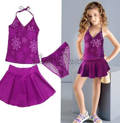 3PCS Girl Kids Flower Swimsuit Tankini Sets Tops Bottom Skirt Swimwear Beachwear
