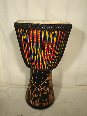 Hand Carved 25x13 Lion Design Djembe