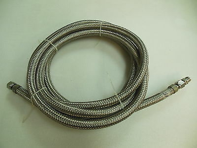 "Stainless Steel Woven Flexible Hose - 3/8"" I.D. 11/16 O.D. x 14 ft. w/ Fittings"