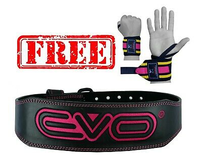 "EVO 6"" 4"" Ladies Pink Pure Leather Gym Belts Weightlifting Back Support Strap"