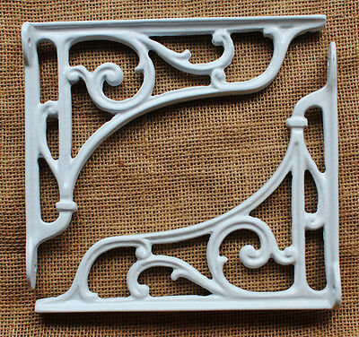 "Pair of White 8"" ANTIQUE CAST IRON VICTORIAN SHELF WALL CISTERN BRACKETS BR10wx2"