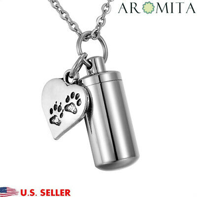 Dog Paw Heart Cylinder Cremation Jewelry Pet Ash Urn Holder Necklace Key Chain