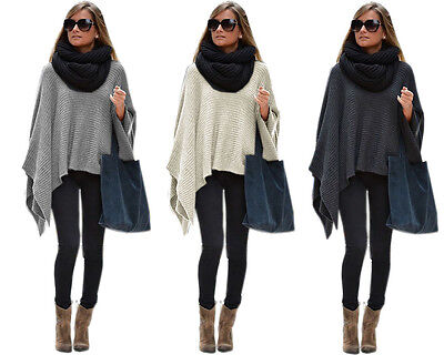 Elegant Ladies Poncho Women's Pullover Knitted Poncho Cosy Cape (628)