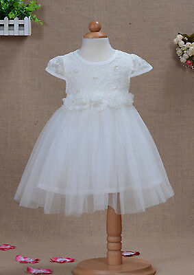 New Party Flower Girl Dress in Ivory Pink Blue Yellow in 12-18 Month to 3-4 Year