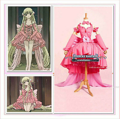 Chobits Chi Gothic Lolita Dress Pink Cosplay Costume Luxury hoopskirt bow Gown