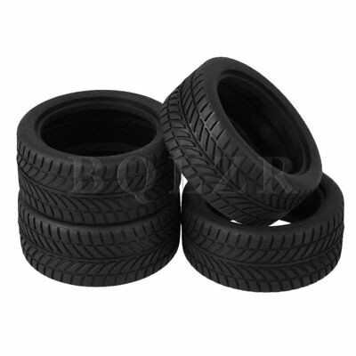 4pcs Black Rubber Tyre for RC 1:10 On Road Racing Car Model Car Spare Parts Tire