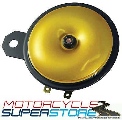 UNIVERSAL LOUD REPLACEMENT 12v MOTORCYCLE MOTORBIKE GOLD HORN 110db