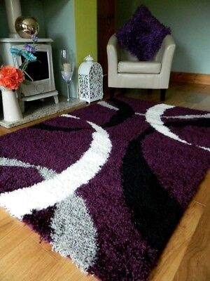 Small Medium Xx Large Purple Thick Soft Heavy Quality Shaggy Living Area Rug Mat