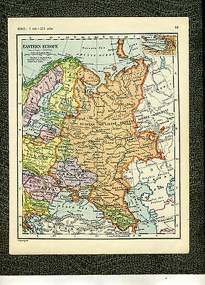 EASTERN EUROPE AND THE MEDITERRANEAN G. W. Bacon 1920s Vintage MAP Original