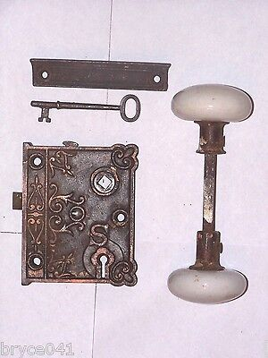 Antique Eastlake Rim Lock S With Original Key