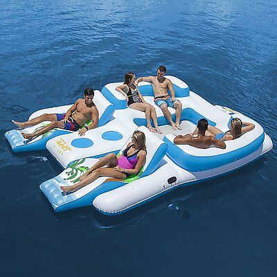 Tahiti Inflatable Floating Island for 6 Person & 2 Contoured Lounges & Cooler