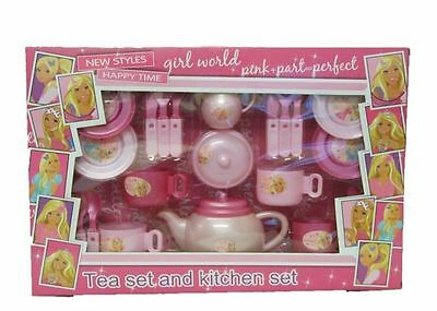 Pink Tea Playset Kids Party Time Teapot Cups Plates Play Set Childrens Toy
