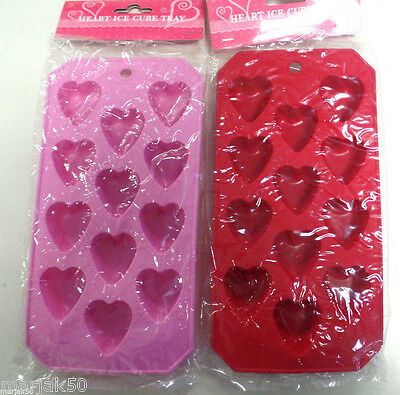 Silicone Heart Ice Cubes Makes 12 Per Tray Pink Or Red