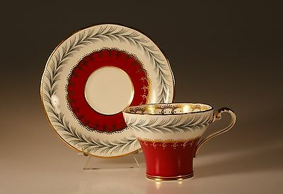 Aynsley Red Corset Shaped Cup and Saucer Made In England c. 1950