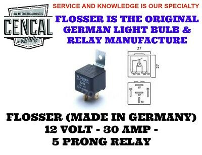 83554015 2246 12 VOLT 40 AMP 4 PRONG RELAY 191937503 FLOSSER MADE IN GERMANY