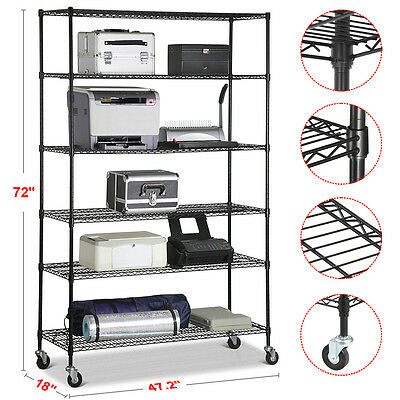 "72""x48""x18"" 6 Layer Shelving Unit Tier Shelf Adjustable Steel Wire Metal Rack"