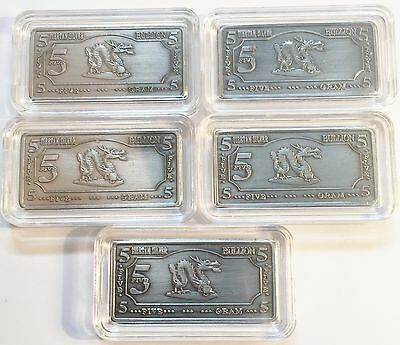 "5 x 5 Gram (25 grams) Tibetan Silver ""Year Of The Dragon"" Ingots Bargain C/rance"