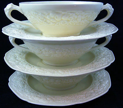 ( 3 ) Creme Crown Ducal Embossed Matching Soup and Under plate Sets.
