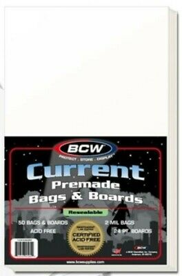 Pack of 50 BCW Premade Resealable Current Comic Bags and Backer Boards