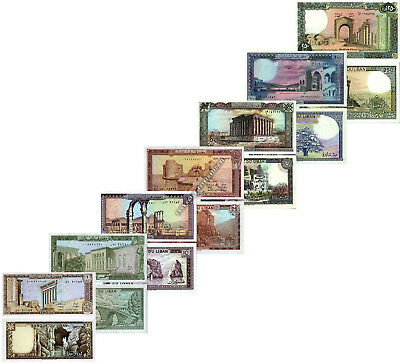 COMPLETE LEBANON 7 NOTE SET 1 5 10 25 50 100 250 LIVRES 1980s UNC ( 100 SETS )