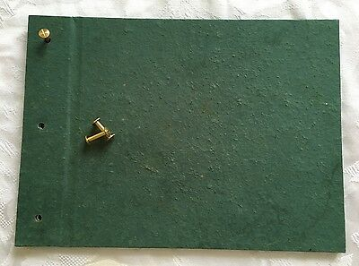 HANDCRAFTED PAPER - GREEN ALBUM COVER with brass posts - photo, gift & baby book