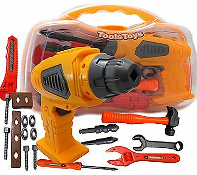Children Kids Friction Drill Tool Box Set DIY Builders Building Construction Toy