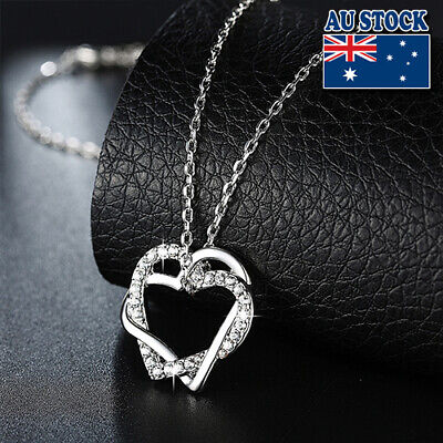 New 18K White Gold Filled Women's Heart Pendant Necklace With Swarovski Crystal