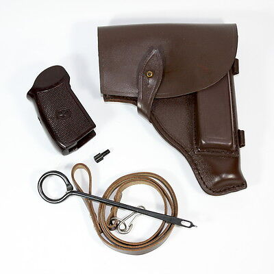 Original Soviet Makarov PM set: belt holster, lanyard belt, cleaning rod & grip