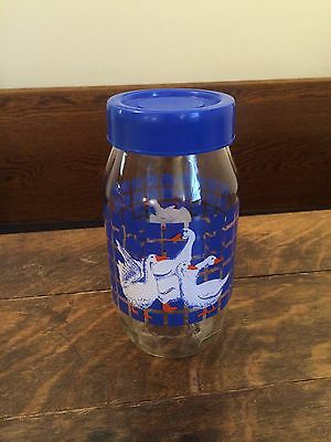 Vintage Carlton Glass Storage Jar with Ducks, Blue Squares & Lid - Made In USA!!