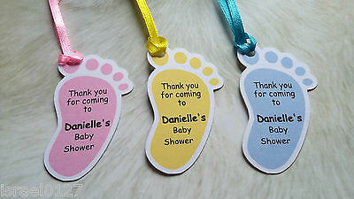 20x Personalised Baby Footprints Tags Baby Shower Baptism Favour Gift Tags